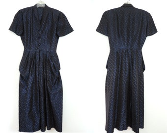 Vintage Dress Navy Blue Satin Front Pockets and Buttons Fashion