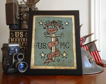 "US Marine Corps Dagger ""Limited Edition"" Giclée Print 8x10"