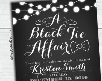 Black and white Invitations - A Black Affair - Chalkboard Invitation