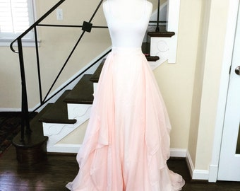 blush chiffon wedding skirt-made to order in your size and 26 colors available