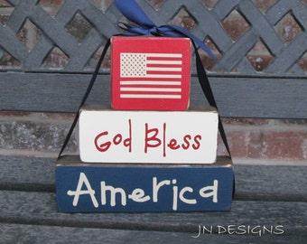 "4th of July ""CHUNKY"" stacker wood blocks- God Bless America"