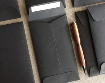 "Black Envelopes - Size 6 1/2"" x  3 3/4"" - 100% Recycled"