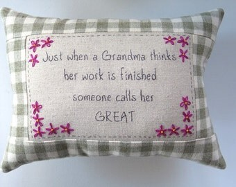 Great Grandma Embroidered Pillow - Green