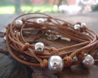 10 x WRAP BRACELET with METAL beads  knotted (720)