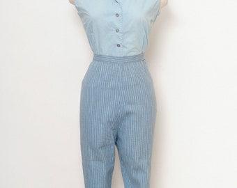 Vintage 50s capri pants / Vintage 50s Womens High Waist Pencil Pants / midcentury Size L-XL/ Cigarette Pants / Pin up Rockabilly 60s mad men