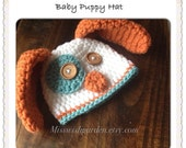 Baby Hat - Puppy Hat - Photo Prop - Made to Order, baby boy hat, boy hat, newborn photoprop, baby puppy hat, baby boy gift, handmade