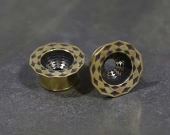 Dome Tunnels - Plugs - 22K Gold Plated Tunnels - Gauged Body Jewelry - Body Piercing Jewelry