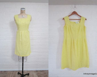 1960s My First Love Yellow Day Dress Size Medium