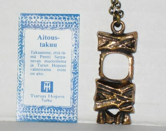 PENTTI SARPANEVA bronze pendant from old stock FINLAND