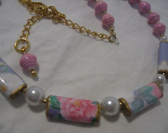 Paper bead necklace- Origami- Handmade paper bead jewelry