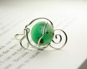 Dazzling Green Chrysoprase Pendant, Wire Wrapped Jewelry in Sterling Silver