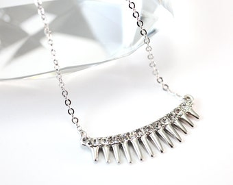 Silver Spike Necklace - Modern edgy trendy spiky statement necklace