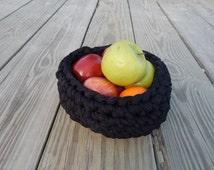 Woven Bowl, Fiber Bowl, Black Bowl, Fruit Bowl, T-shirt Bowl, Crocheted Bowl, Repurposed Fabric Bowl
