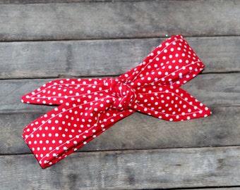 Rosie the Riveter Skinny Headband Red and White Polka Dots Headband Knotted Headscarf Teen Women Hair Accessory