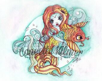 Iron On - Heat Transfer - Mermaid Heat Transfer - Mermaid Iron On - Mermaid Art - Koi Art - Koi Iron On - Koi Decor - Mermaid Decor