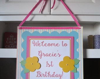 Flower Door Sign - Floral First Birthday - Flower Birthday Party - Flower Party Decorations - Welcome Door Sign - Flower Theme Decor