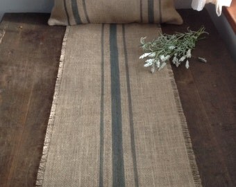Gray Striped Burlap Table Runner 12 or 14x108 Rustic Grain Sack Home Decor by sweetjanesplan