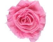 """Pink 2"""" Shabby Rose Flower"""