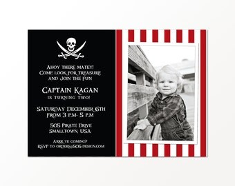 Pirate Party Invitation - Printable or Printed Pirate Invitation by 505 Design Inc