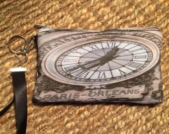 Wristlet Zipper Pouch: Paris Clock