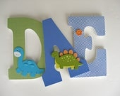 Wooden Nursery Letters - Royal Blue and Green Personalized Bedroom Decor - Letter Set for Baby Boy Bedroom