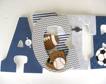 Decorated Wooden Letters - Gray and Navy Blue - Baby Boy Letter Set - Hanging Wood Wall Letters