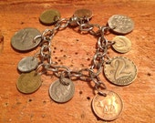 Vintage Authentic Silver & various Foreign Coins Currency Money Charm Bracelet