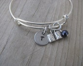 Book Bangle Bracelet- Adjustable Bangle Bracelet with Hand-Stamped Initial, Book Charm, and accent bead