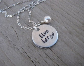 "Inspiration Necklace- ""live large"" with an accent bead in your choice of colors- Hand-Stamped Jewelry"