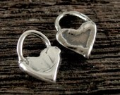 Sterling Silver Heart Charms - 4 lil - Artisan Charms - Handcrafted  - 7.25mm - AP39