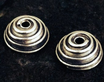 2 Sterling Silver Bead Caps  9mm Spiral Design  MB46