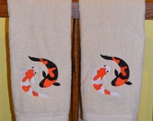 Set of 2 Koi Fish Bathroom Hand Towels
