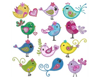 DIVA BIRDS Machine Applique Embroidery - Instant Digital Download