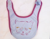 Infant Baby Rib Reversible Bib with kitten and cats print, One size