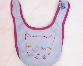 Infant Baby Rib Reversible Bib with kitten and cats print, One size, free shipping