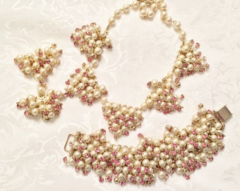 Faux Pearls and Rhinestone Necklace, Earrings, and Bracelet in Gold Tone Setting