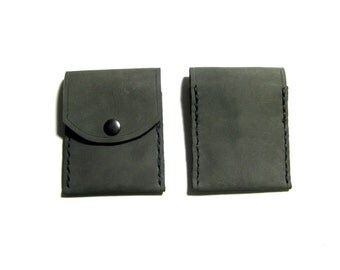 Leather Business Card Wallet in Gray and Gunmetal