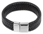 "Mens Leather Bracelet - Black  Braided Flat Leather Cuff Wrist Bracelet with Stainless Steel Clasp 8"" B0013BLK !New!"