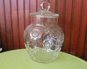 Vintage Hazel Atlas Clear Glass Gingerbread Man Cookie Jar