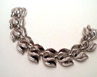 Vintage Signed Crown Trifari Silver Bracelet