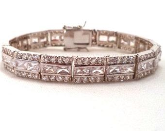 Jewels by Park Lane High End Rhodium Plated Clear CZ Bracelet Signed Original Box
