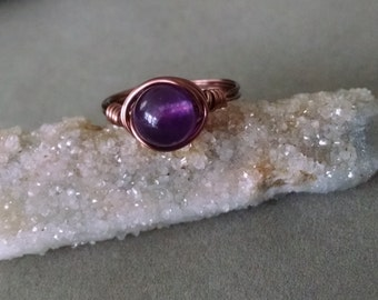 Amethyst Ring - Gemstone Ring - Wire Wrapped Ring - Antique Copper - Amethyst Jewelry - Purple Stone Ring - Made to Order - Simple Ring