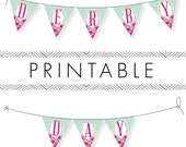 Derby Bunting Printable (Entire Alphabet) in Pink