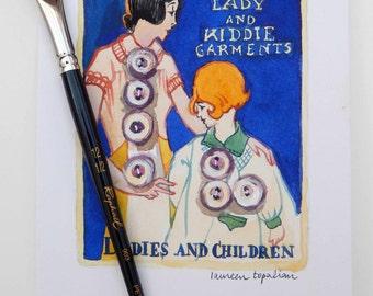 """Original watercolor """"Ladies"""" vintage button card"""