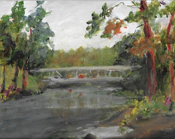 Bridge over Peaceful River Original acrylic landscape painting 8x10