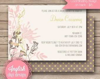 Vintage Bridal Shower Invitation, Vintage Bridal Shower Invite, Printable Vintage Bridal Shower Invitation in Pink, Brown, Charteuse