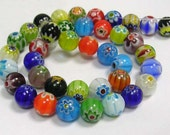 Millefiori Glass Beads Wholesale Beads BULK Beads Assorted 48 pieces Colorful 8mm Beads