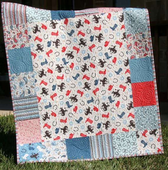 Western Quilt Boy Or Girl Blanket Horseshoes Boots Bucking