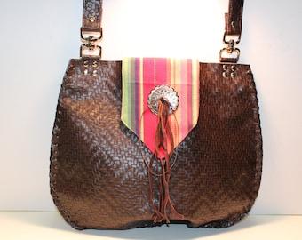 Leather Chevron design Bag