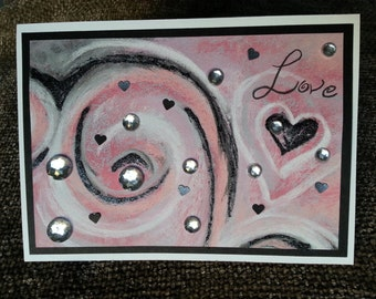 Love Valentine Card with Watercolor Swirl Paper and Rhinestones